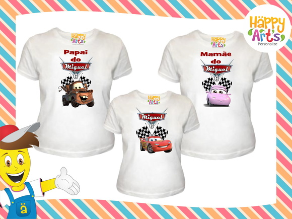 Kit 3 camisetas Carros Disney
