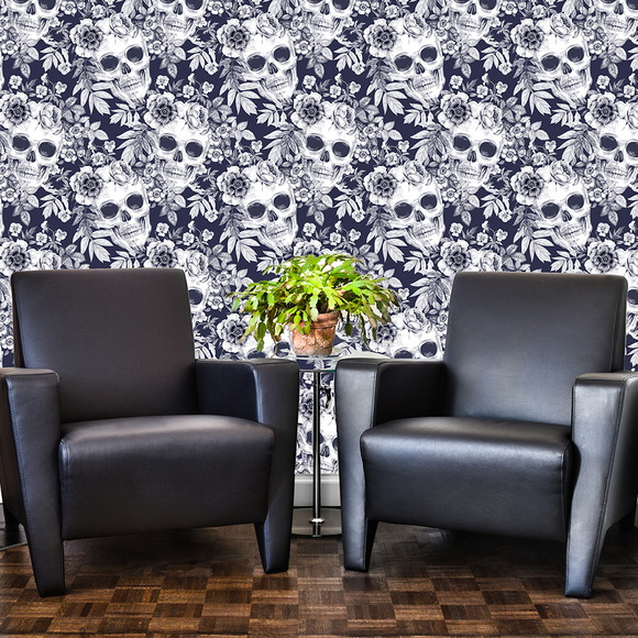 Papel de parede texturizado skull flower acrilize elo7 for Papel texturizado pared