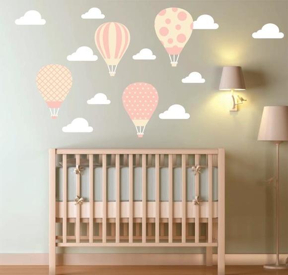 Aparador Livro Xadrez ~ Adesivo balões + nuvens Quarto de Criança Lojadecoreacasa Elo7