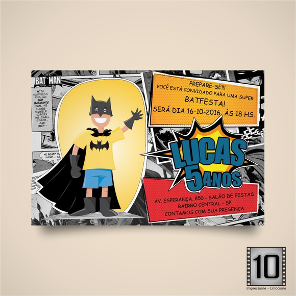 Convite Arte Digital Batman