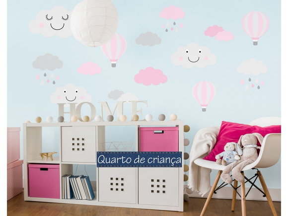Aparador Tok Stok Preto ~ Adesivo nuvens + balões Quarto de Criança
