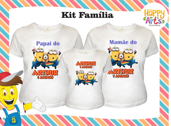 Kit 3 camisetas Minnions