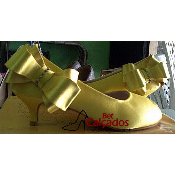 bb5a133a87ad Sapato 010 amarelo bico ABERTO 5cm no Elo7 | Bet Calçados (8359F8)