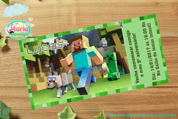 Arte Convite Digital Minecraft