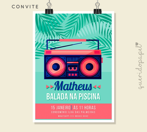 Convite pool party ver o digital querido papel for Musica piscina