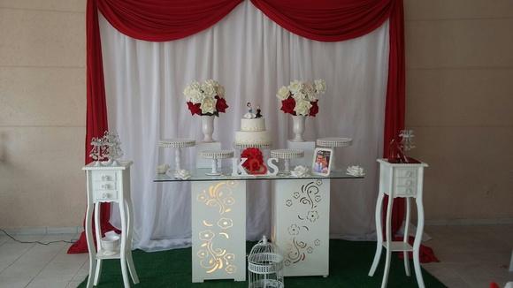 Decoraç u00e3o Noivado ou Casamento no Elo7 Mamy Pappy Eventos Infantis (86F8CE) -> Decoração De Casamento Simples Com Tnt Vermelho E Branco