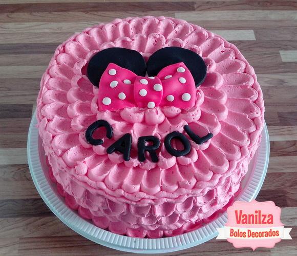 Bolo decorado da minie rosa elo7 for Papel decorado rosa