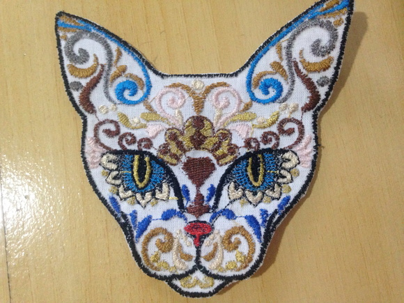 Patch Bordado Mexican Skull Cat