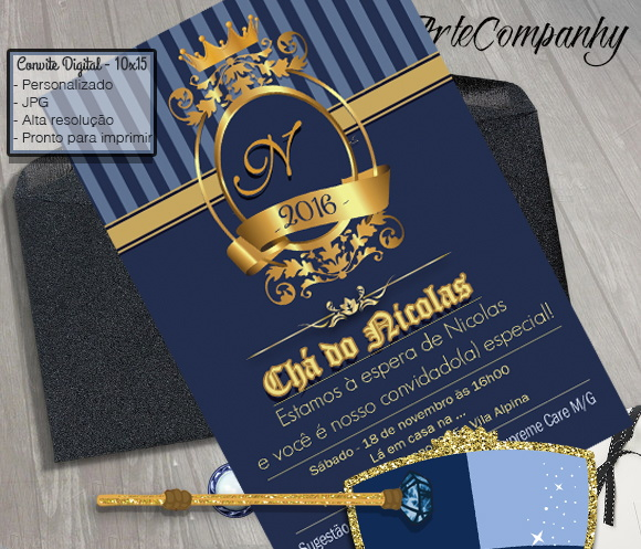 Convite Chá De Bebê Príncipe Realeza No Elo7 Artecompany 8880b3