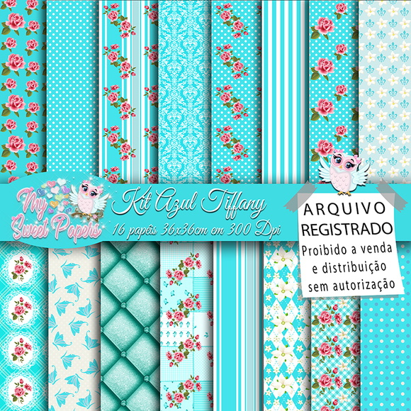 Kit Papel Digital Azul Tiffany