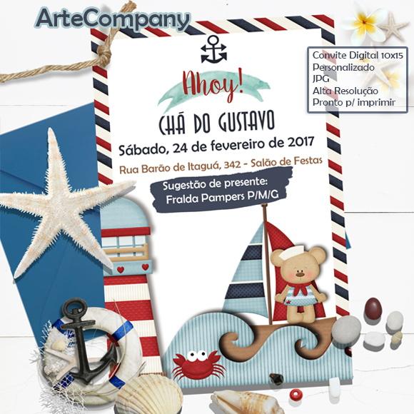 Convite Chá De Bebê Marinheiro Barco Náutico No Elo7 Artecompany