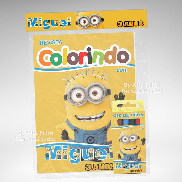 Kit Colorir Minions + Brindes