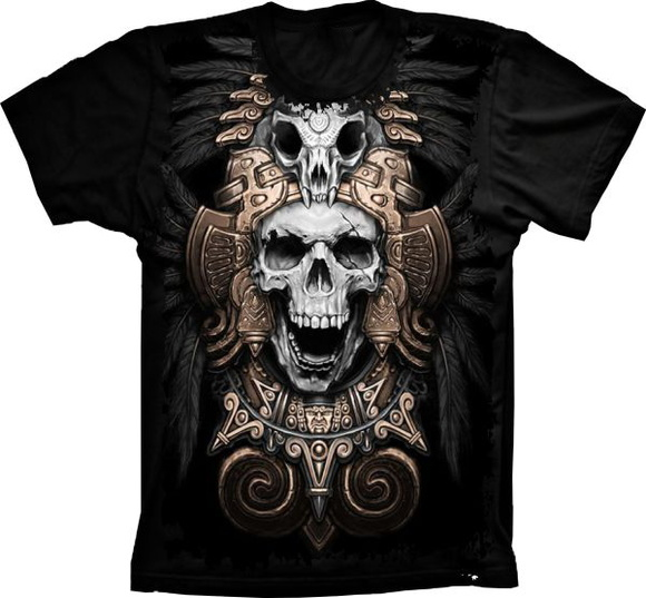 Camiseta Caveira Indian no Elo7  ced8a9a9741d4