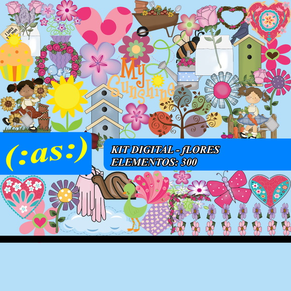 Kit Digital Scrapbook Flores + 80 Fundos