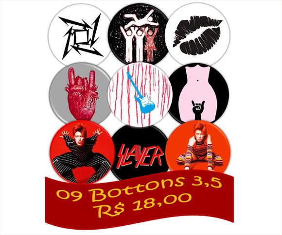 09 Bottons 3,5 - Rock Buton Punk Metal
