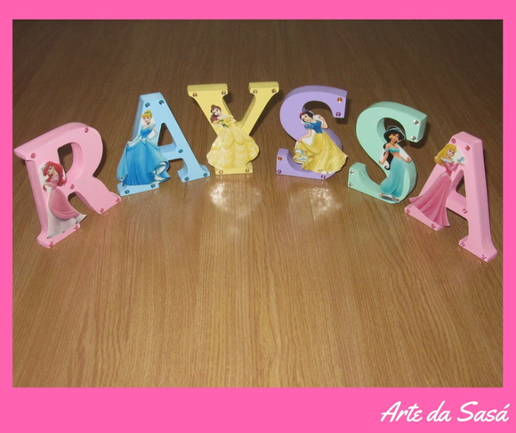 Letras Decorativas 3D Princesas