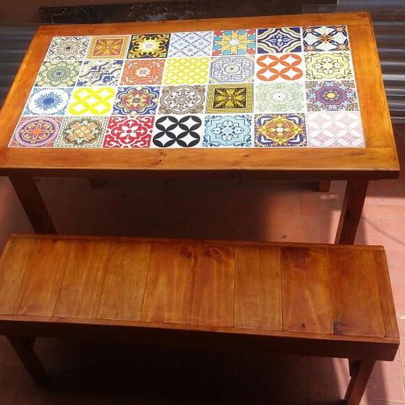 Mesa com azulejos e banco no elo7 carllos cria es 8ae71d - Mesas de azulejos ...
