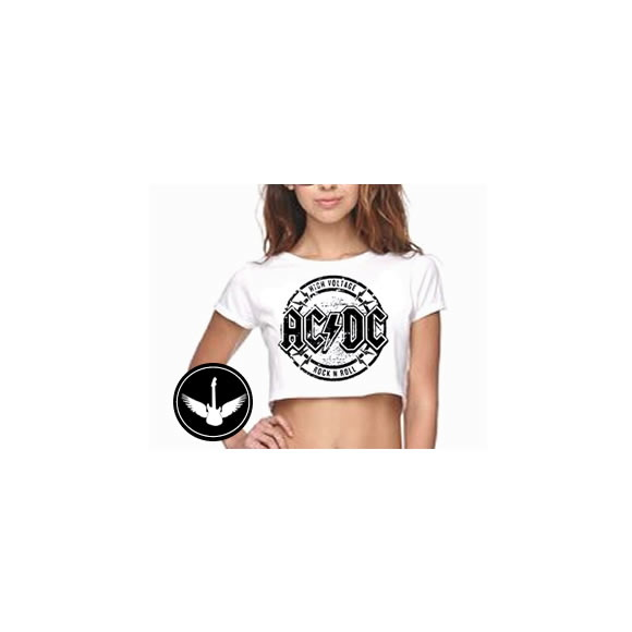 Blusa Cropped AC/DC high voltage