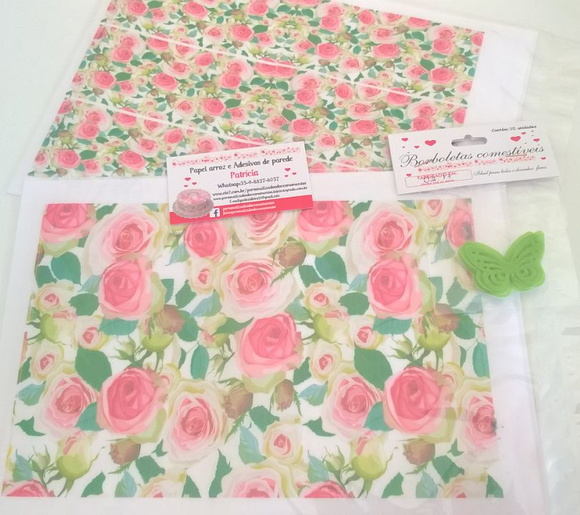 kit Papel arroz floral rosas