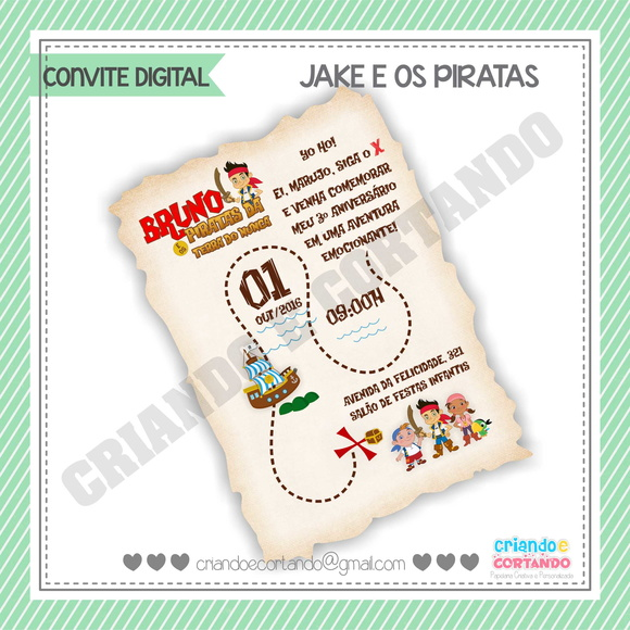 Convite Digital Jake e os Piratas