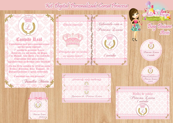 Kit Digital Personalizado Coroa Princesa