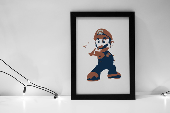 Quadro Game Super Mario com moldura