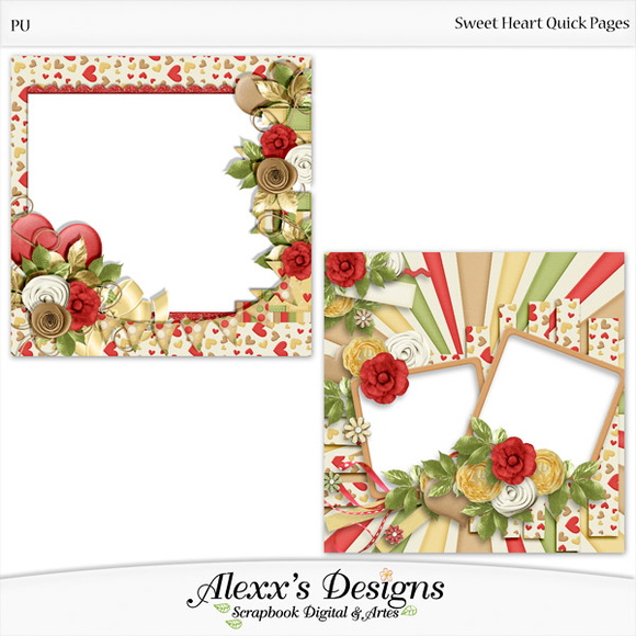 Kit Digital Sweet Hearts Quick Pages