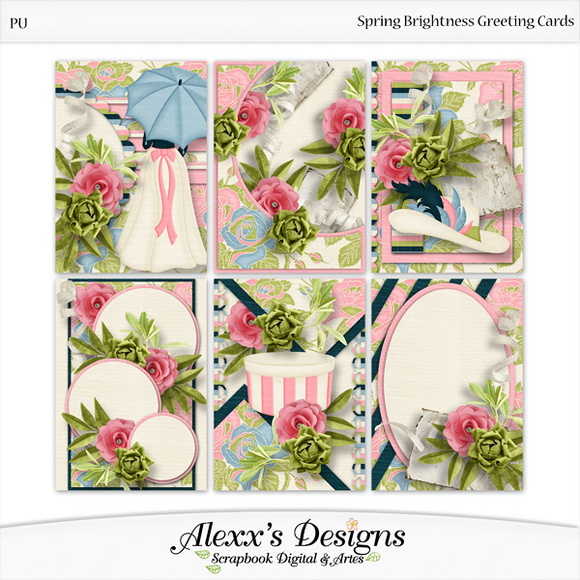Kit Digital Spring Brigthness Cartoes