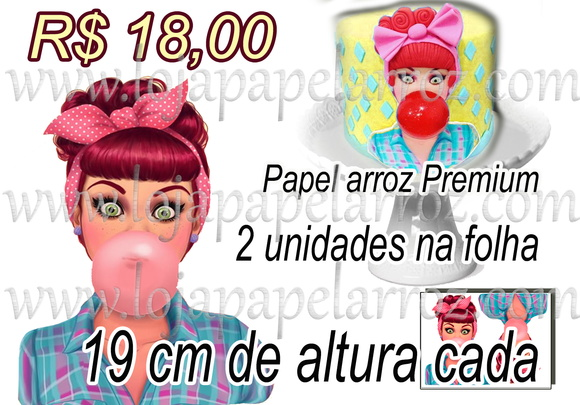 Pin Up Papel Arroz com 2 unidades Rostos
