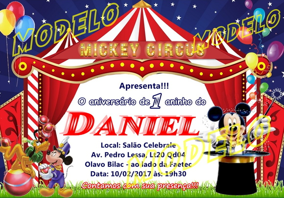 Convite Inf. Circo do Mickey 10x15