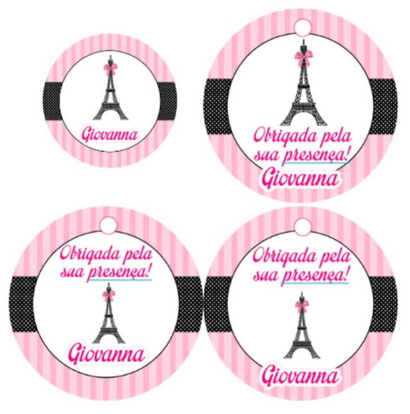 Adesivos, toppers e tags Paris 5 cm