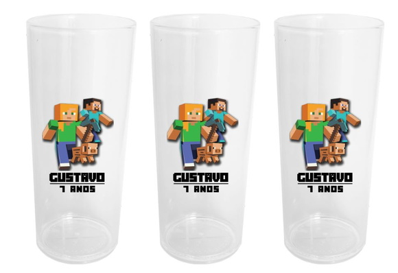 Copos Long Drink Cristal Minecraft