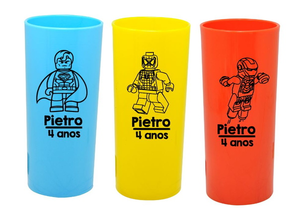 Copos Long Drink Lego Herois