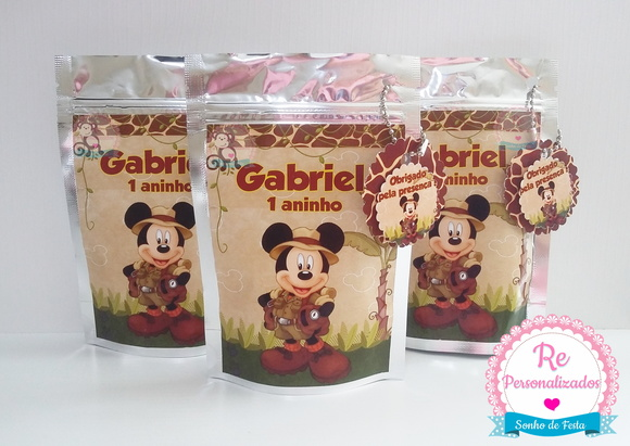 Saquinho Metalizado Mickey Safari M