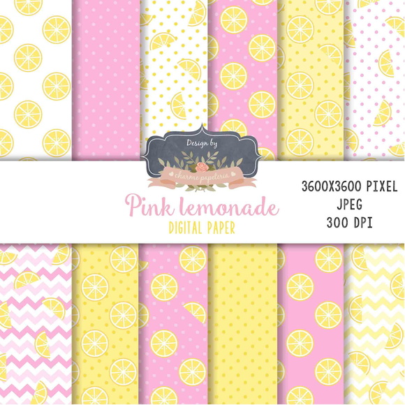 Kit Papel Digital Pink lemonade