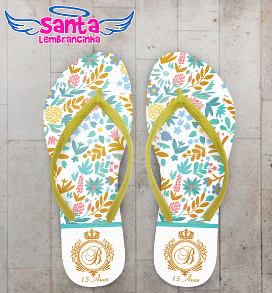 Chinelo 15 anos Floral Tiffany
