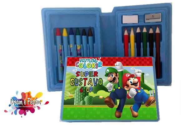 Mini Estojo Pintura Super Mario Bros