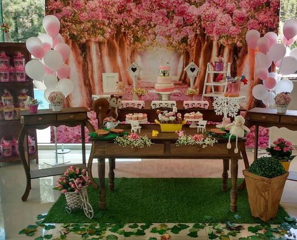 Decoraç u00e3o Jardim Encantado Menina Prendada Festas Personalizadas Elo7 -> Decoração De Festa De Aniversario Jardim Encantado