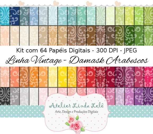 Kit Digital Papéis Arabescos - Damask