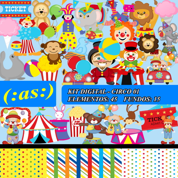 Kit Digital Scrapbook Circo 01