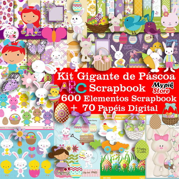 Kit Digital Scrapbook Pascoa + Completo