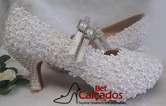 3ba29e418 Sapato Noiva Luxo Renda Guipir | Elo7