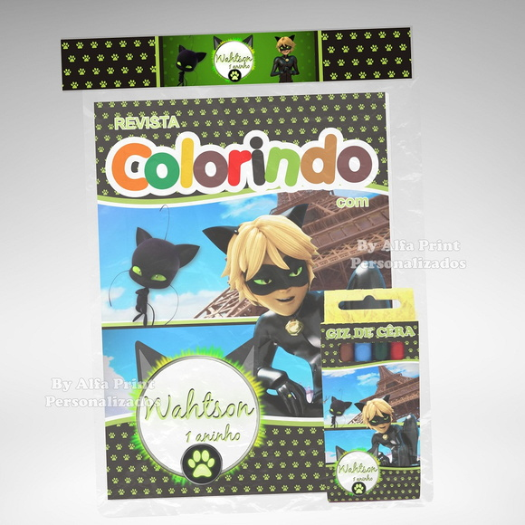 Kit Colorir Cat Noir + Brindes