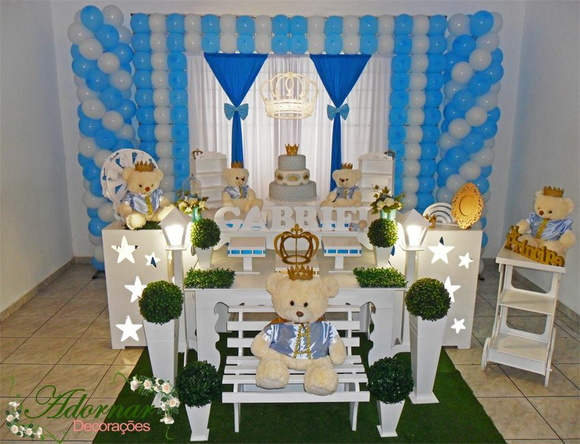Aluguel Decoraç u00e3o Chá Beb u00ea Azul Branco Aniversários Infantis no Elo7 Adornar Decorações Para  -> Decoração Cha De Bebe Tema Urso