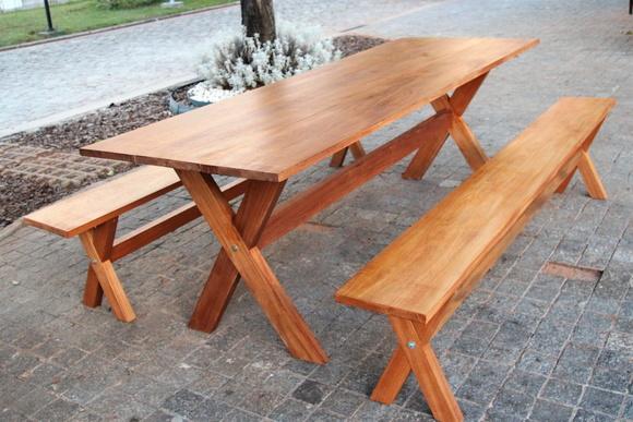 Mesas e bancos de madeira rustica elo7 for Mesas rusticas