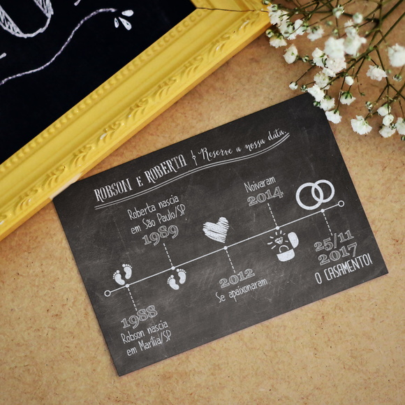 Save the Date Linha do tempo Chalkboard