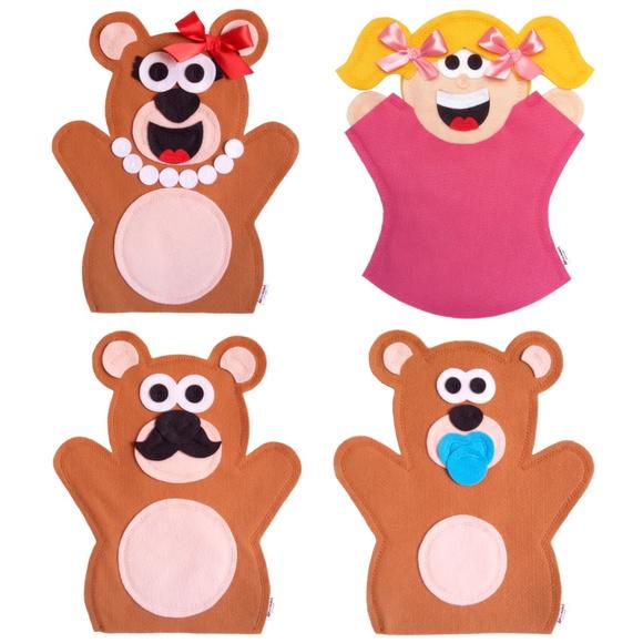 Fantoches Cachinhos Dourados E Os Tres Ursos Elo7