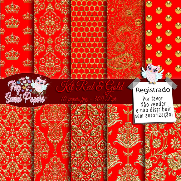 Kit Papel Digital Red & Gold