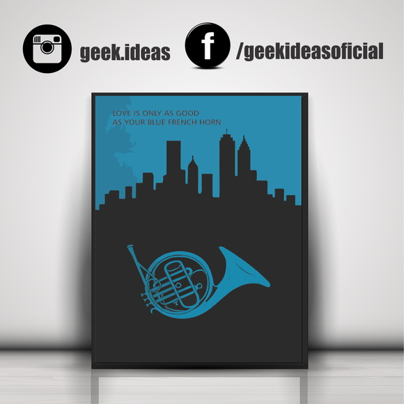 Poster Blue French Horn