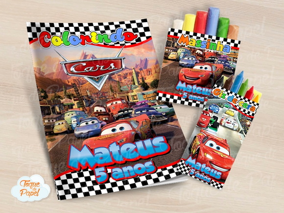 Kit colorir giz massinha Carros Cars
